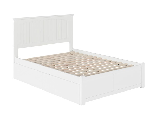 Atlantic Furniture Nantucket White 2 Urban Drawers Full Bed with Flat Panel Foot Board AR8232112