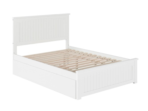 Atlantic Furniture Nantucket White Full Bed with Matching Foot Board and Twin Urban Trundle AR8236012