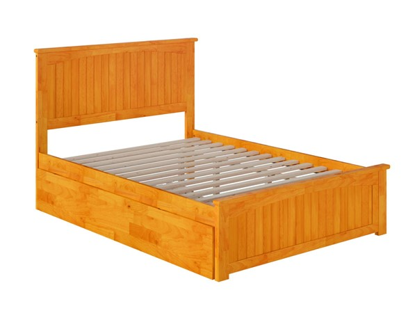 Atlantic Furniture Nantucket Caramel Full Bed With Matching Foot Board And Twin Urban Trundle AR8236017
