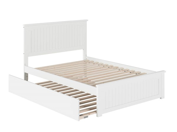 Atlantic Furniture Nantucket White Full Platform Urban Trundle Bed with Matching Footboard AR8236052