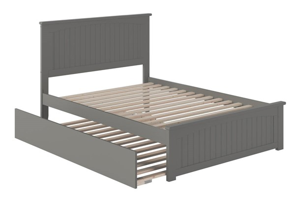 Atlantic Furniture Nantucket Grey Full Platform Urban Trundle Bed with Matching Footboard AR8236059