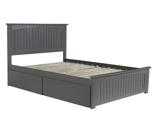 Atlantic Furniture Nantucket Grey 2 Urban Drawers Full Bed with Matching Foot Board AR8236119