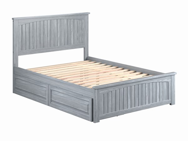 Atlantic Furniture Nantucket Driftwood Full Bed with Matching Footboard and Raised Panel Drawers AR8236138