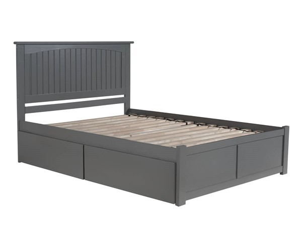 Atlantic Furniture Nantucket Grey Queen Flat Panel Footboard and 2 Urban Drawers Platform Bed AR8242119