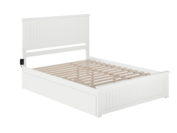 Atlantic Furniture Nantucket White Queen Bed with Matching Footboard and Twin XL Trundle AR8246042