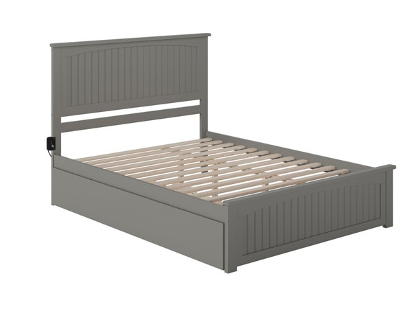 Atlantic Furniture Nantucket Grey Queen Bed with Matching Footboard and Twin XL Trundle AR8246049