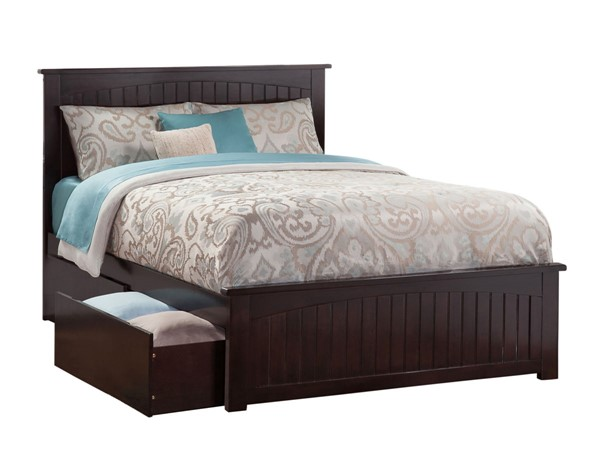 Atlantic Furniture Nantucket Espresso 2 Urban Drawers Queen Bed with Matching Foot Board AR8246111