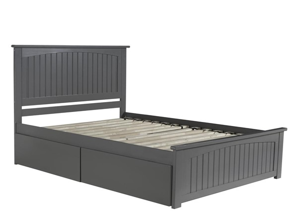 Atlantic Furniture Nantucket Grey Queen Matching Footboard with 2 Urban Drawers Platform Bed AR8246119