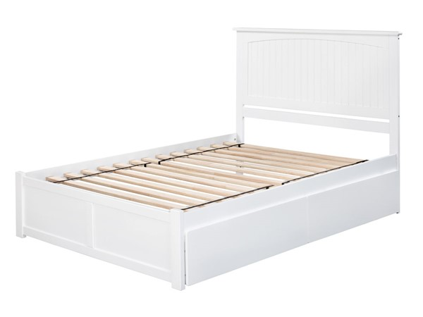 Atlantic Furniture Nantucket White 2 Urban Drawers King Bed with Flat Panel Foot Board AR8252112