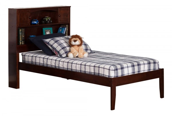 Newport Walnut Wood Twin XL Bookcase Platform Open Foot Bed AR8511004