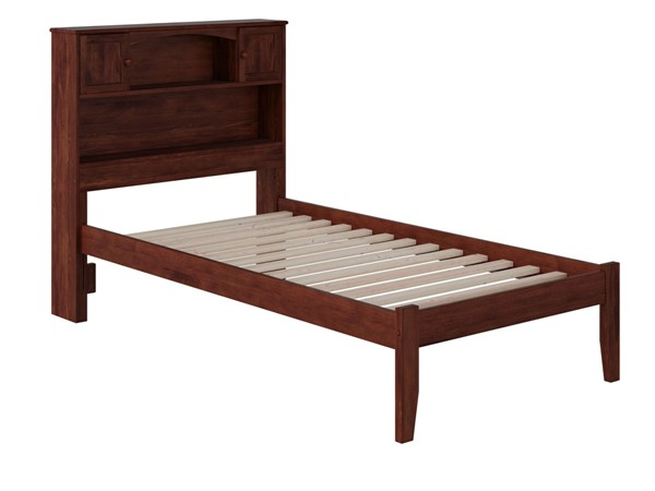 Atlantic Furniture Newport Walnut Twin XL Bookcase Platform Open Foot Bed AR8511004