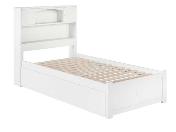 Atlantic Furniture Newport White Twin XL Bed with Footboard and Twin XL Trundle AR8512042