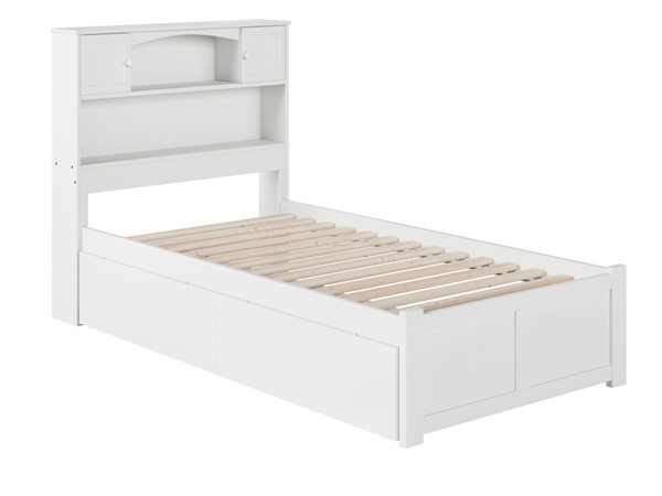 Atlantic Furniture Newport White Flat Panel Footboard and Two Urban Drawers Twin XL Bookcase Bed AR8512112
