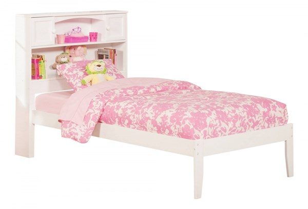 Newport White Wood Twin Bookcase Platform Open Foot Bed AR8521002