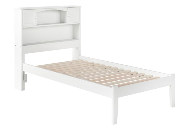 Atlantic Furniture Newport White Twin Bookcase Platform Open Foot Bed AR8521002