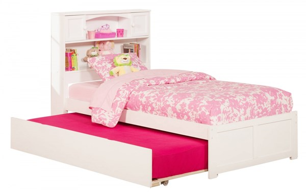 Atlantic Furniture Newport White Flat Panel Footboard and Urban Trundle Twin Bookcase Bed AR8522012