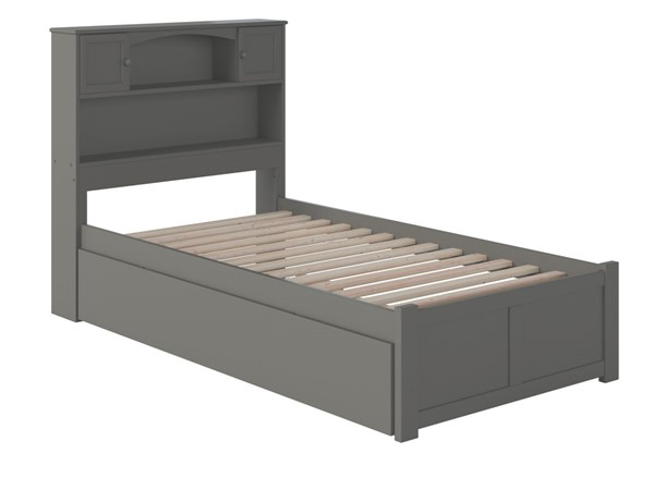 Atlantic Furniture Newport Grey Twin Platform Bed with Urban Trundle AR8522019