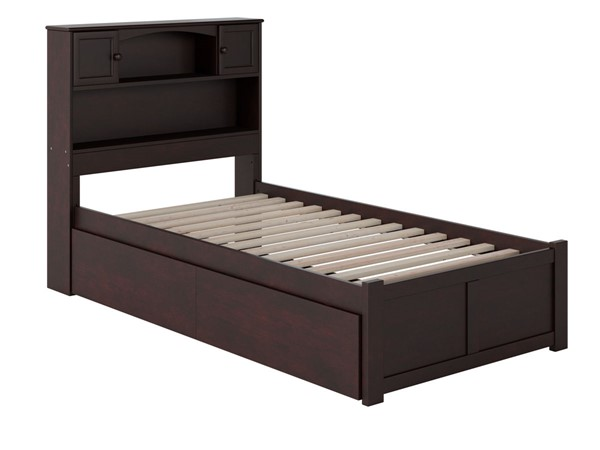 Atlantic Furniture Newport Espresso Flat Panel Footboard and Two Urban Drawers Twin Bookcase Bed AR8522111