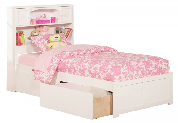 Newport White Flat Footboard & Urban Drawers Twin Bookcase Bed AR8522112