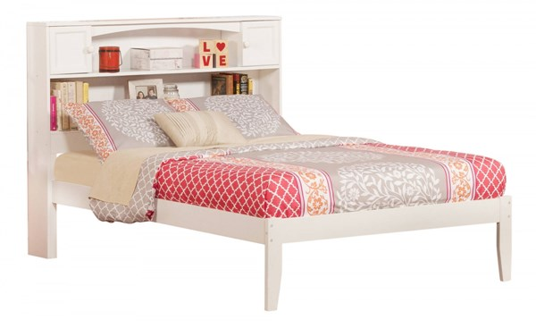 Newport White Wood Full Open Foot Rail Bookcase Bed AR8531032