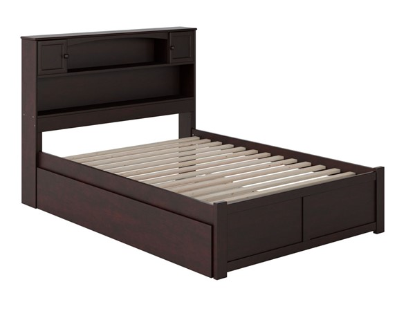 Atlantic Furniture Newport Espresso Full Platform Urban Trundle Bed with Flat Panel Footboard AR8532051