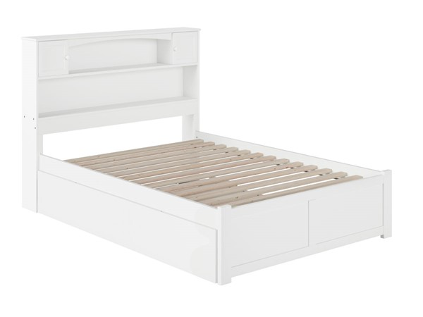 Atlantic Furniture Newport White Full Platform Urban Trundle Bed with Flat Panel Footboard AR8532052