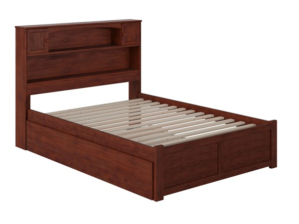Atlantic Furniture Newport Walnut Full Platform Urban Trundle Bed with Flat Panel Footboard AR8532054