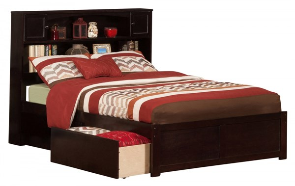Atlantic Furniture Newport Espresso Flat Panel Footboard and Two Urban Drawers Full Bookcase Bed AR8532111