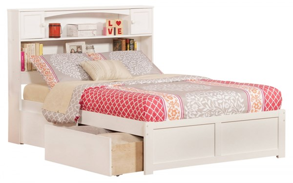 Newport White Flat Footboard & Urban Drawers Full Bookcase Bed AR8532112