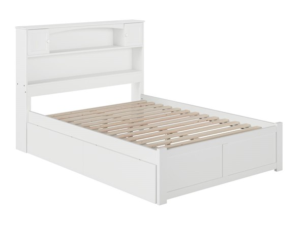 Atlantic Furniture Newport White Flat Panel Footboard and Two Urban Drawers Full Bookcase Bed AR8532112