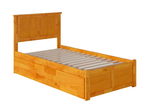 Atlantic Furniture Madison Caramel Twin XL Bed with Flat Panel Foot Board and 2 Urban Drawers AR8612117