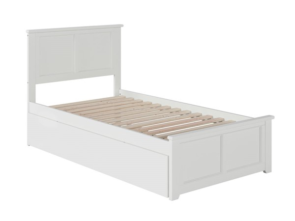 Atlantic Furniture Madison White Twin XL Bed with Matching Footboard and Twin XL Trundle AR8616042