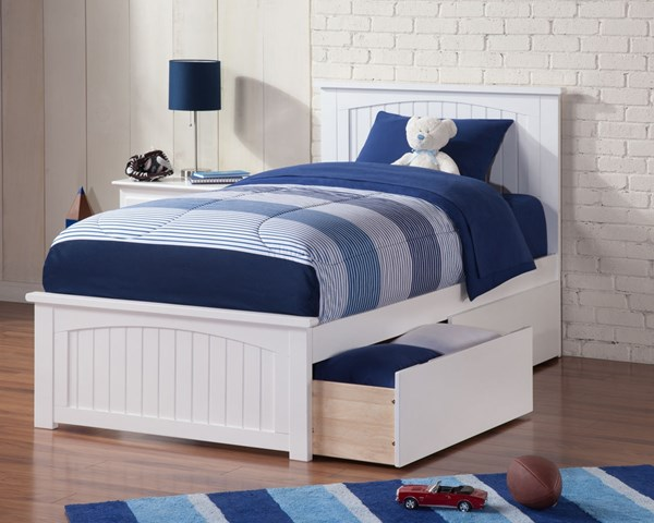 Atlantic Furniture Madison White Matching Footboard and Two Urban Drawers Twin XL Bed AR8616112