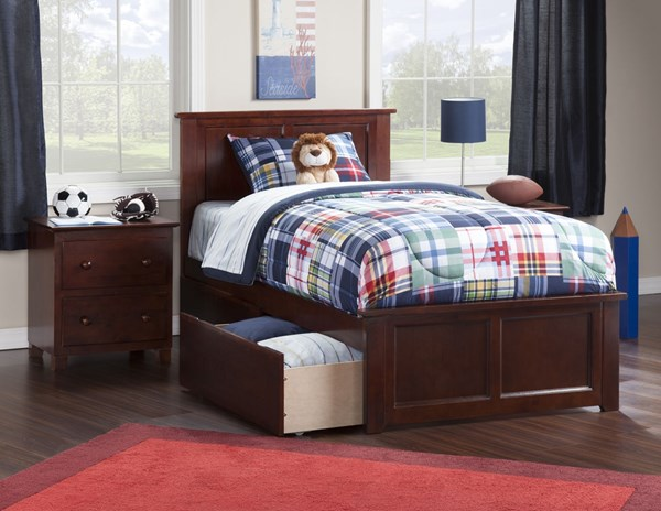 Atlantic Furniture Madison Walnut Matching Footboard and Two Urban Drawers Twin XL Bed AR8616114