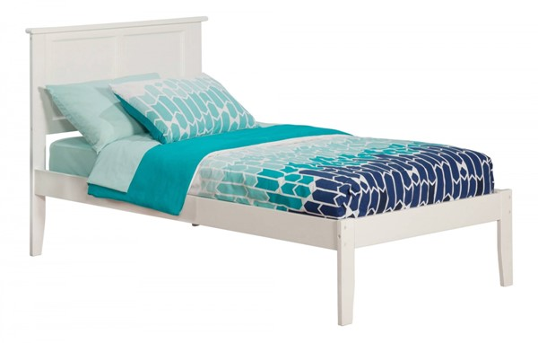 Madison Traditional White Wood Twin Open Foot Rail Platform Bed AR8621032