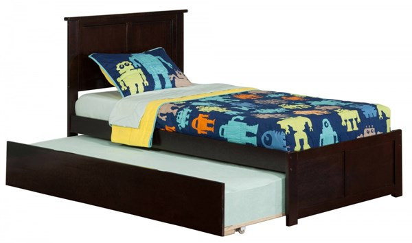 Madison Espresso Wood Flat Panel Footboard & Urban Trundle Twin Bed AR8622011