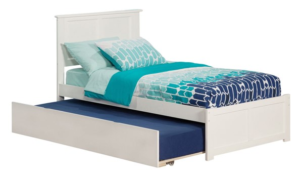 Atlantic Furniture Madison White Flat Panel Footboard Twin Urban Trundle Bed AR8622012