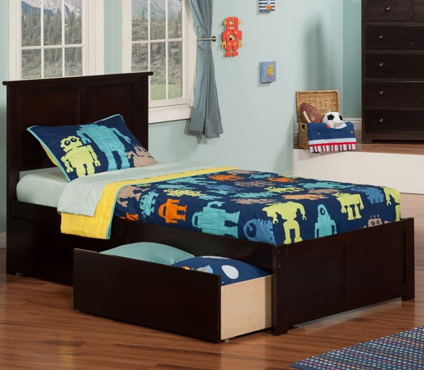 Atlantic Furniture Madison Two Urban Drawers and Flat Panel Footboard Twin Bed AR86-KBEDS-VAR2
