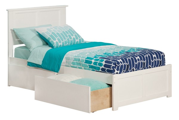 Atlantic Furniture Madison White Two Urban Drawers and Flat Panel Footboard Twin Bed AR8622112