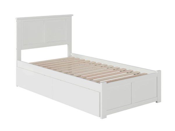 Atlantic Furniture Madison White Twin Bed with Flat Panel Foot Board and 2 Urban Drawers AR8622112