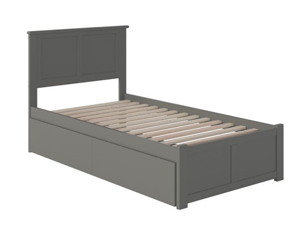 Atlantic Furniture Madison Grey Twin Bed with Flat Panel Foot Board and 2 Urban Drawers AR8622119
