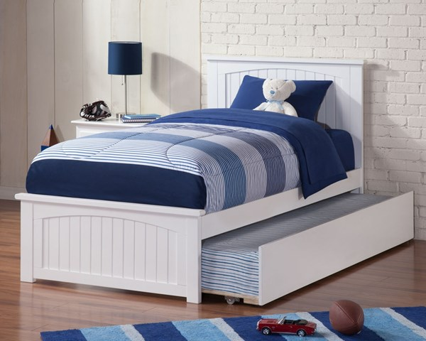 Atlantic Furniture Madison White Matching Footboard Twin Urban Trundle Bed AR8626012