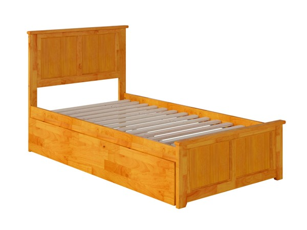 Atlantic Furniture Madison Caramel Twin Bed with Matching Foot Board and Twin Urban Trundle AR8626017