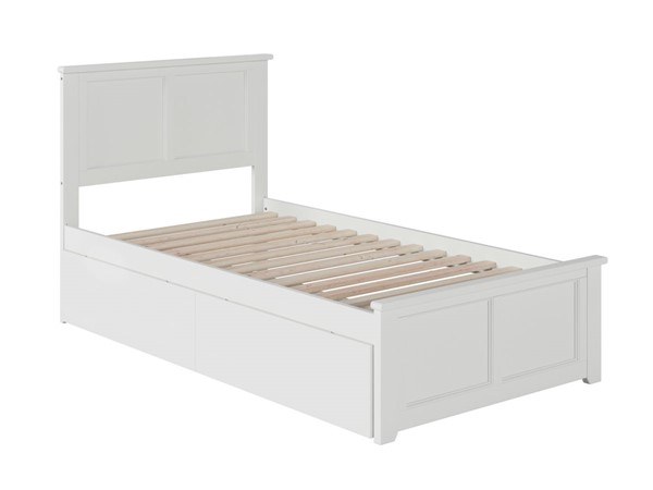 Atlantic Furniture Madison White Twin Bed with Matching Foot Board and 2 Urban Drawers AR8626112