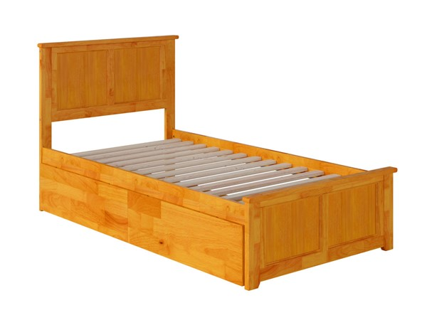 Atlantic Furniture Madison Caramel Twin Bed with Matching Foot Board and 2 Urban Drawers AR8626117