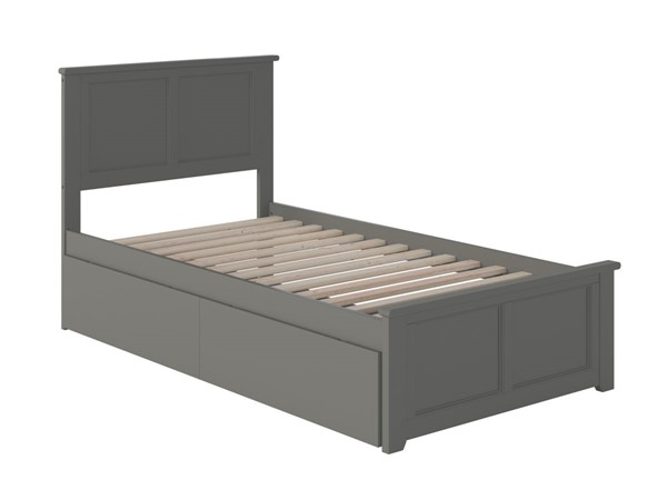 Atlantic Furniture Madison Grey Twin Bed with Matching Foot Board and 2 Urban Drawers AR8626119