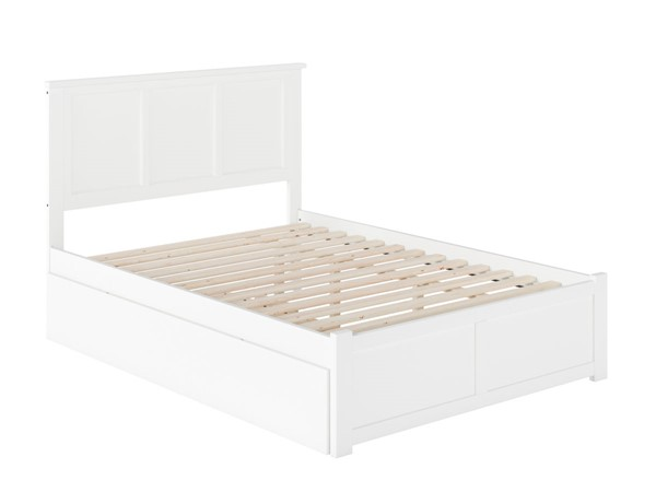 Atlantic Furniture Madison White Flat Panel Footboard Full Urban Trundle Bed AR8632012
