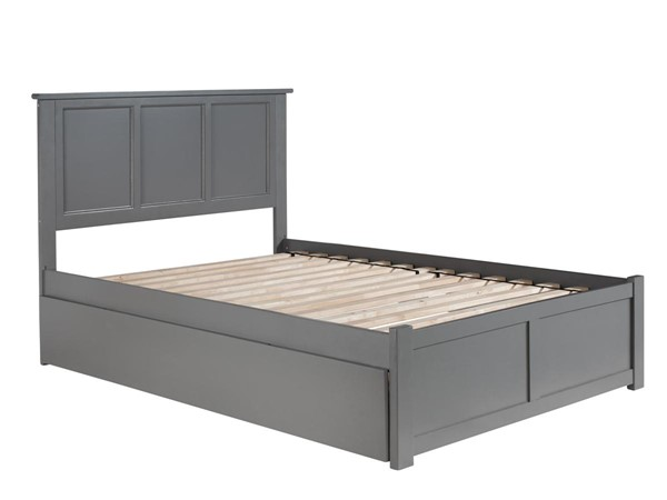 Atlantic Furniture Madison Grey Full Bed with Flat Panel Foot Board and Twin Urban Trundle AR8632019