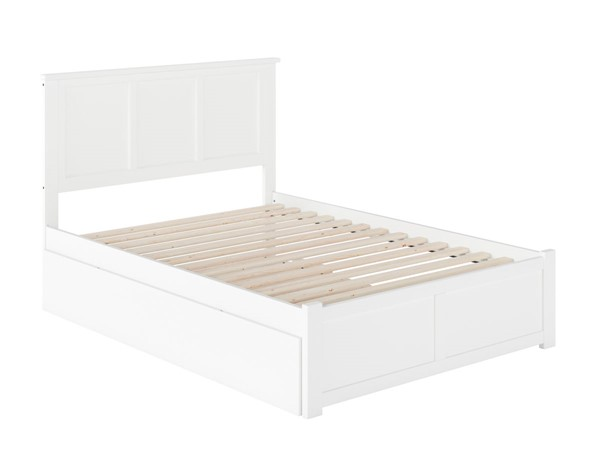 Atlantic Furniture Madison White Full Bed with Flat Panel Foot Board and Full Urban Trundle AR8632052