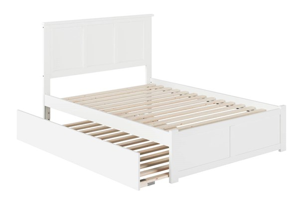 Atlantic Furniture Madison White Full Platform Urban Trundle Bed with Flat Panel Footboard AR8632052